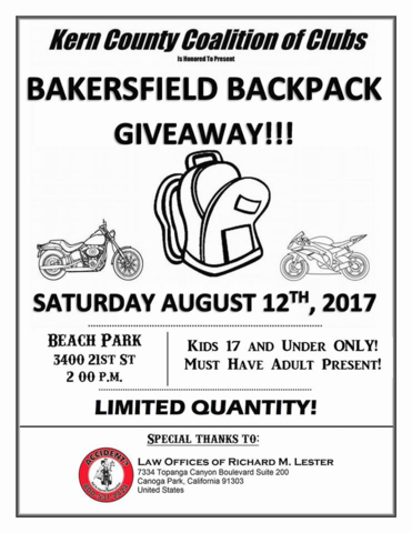 Kern County Coalition Of Clubs Backpack Giveaway August 12