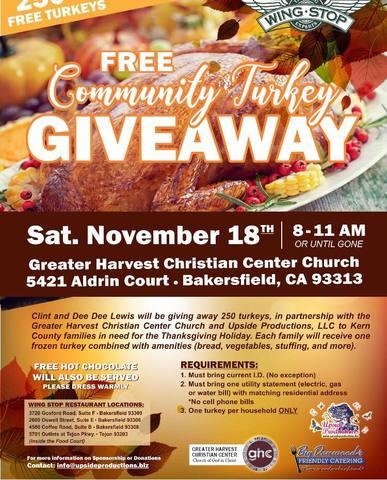 Free Community Turkey Giveaway Saturday November 18