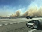 Rye Fire burns in Valencia near Magic Mountain