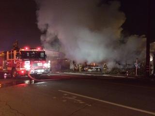 Crews battle fire on Claflin Way