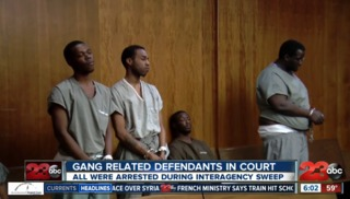 Gang related defendants in court
