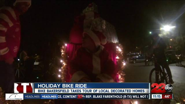 Father and son duo take on Bike Bakersfield-s annual Holiday Lights Ride…