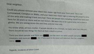 SW Resident receives hate letter