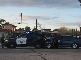 CHP vehicle rear-ended in east Bakersfield