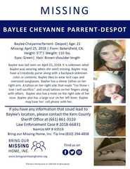 Missing Person: Baylee Parrent-Despot