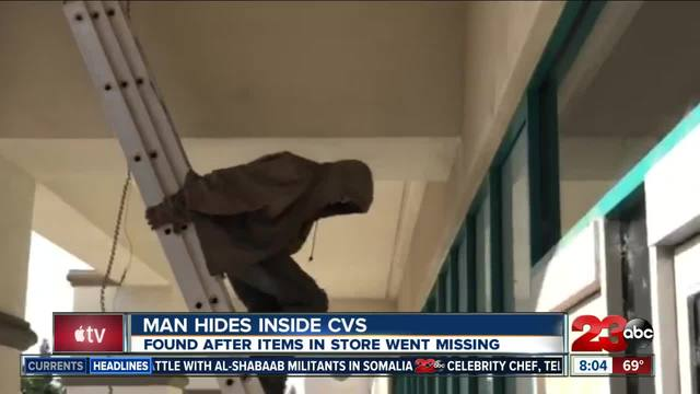 employees discover man hiding in cvs attic after several store items