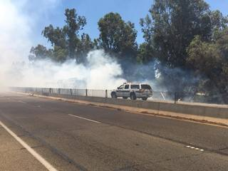 KCFD battles brush fires on Golden State Freeway
