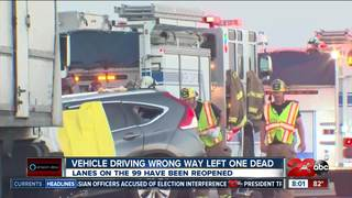 One person dies in wrong way crash on 99 freeway