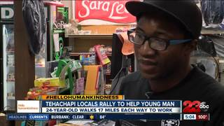Locals donate car to man who walks to work