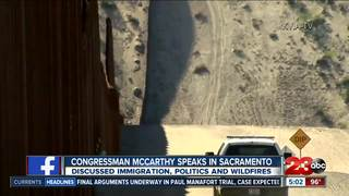 McCarthy talks state issues, met with protestors