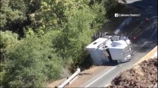 Truck flips after driving on restricted road