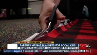 Parents make blankets for kids in need