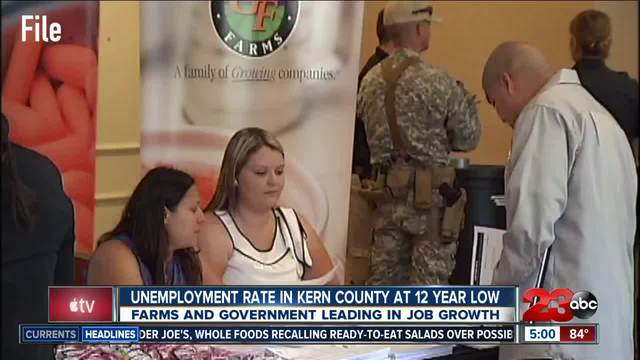 12 year low in unemployment rates in Kern County