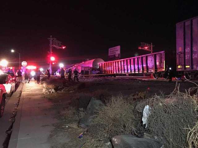 Van crashes into train in East Bakersfield