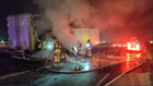 Lanes closed on the 58 after semi catches fire